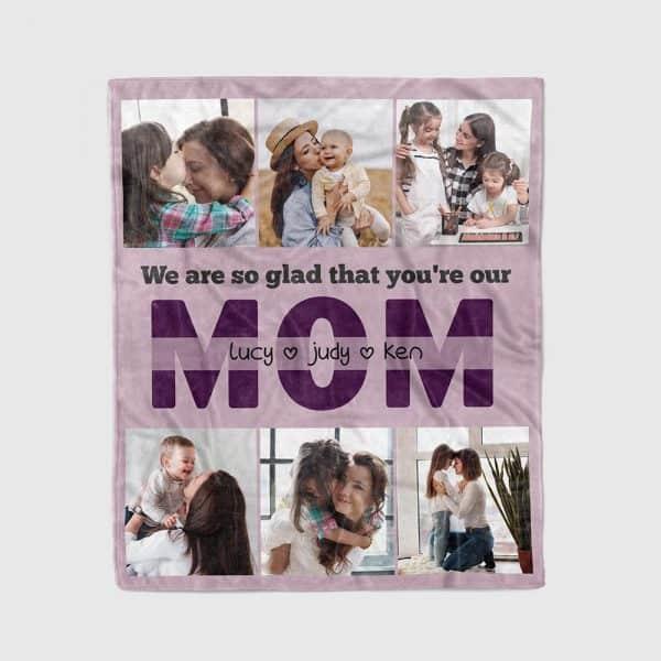 stocking stuffer ideas for her: Custom Photo Blanket for Mom