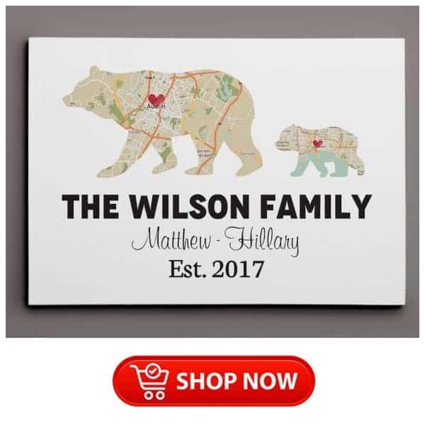 meaningful single mom gifts: bear retro map