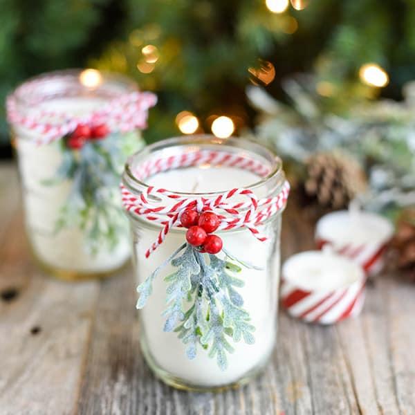 DIY Christmas Gifts - Peppermint Mason Jar Candle