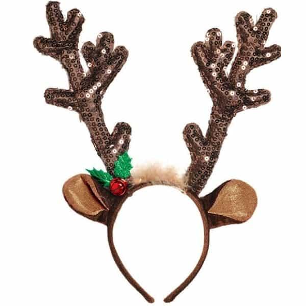 Brown Antler Sequined Deer Headband