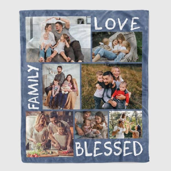 stocking stuffer for her: Family Love Blessed Photo Collage Blanket