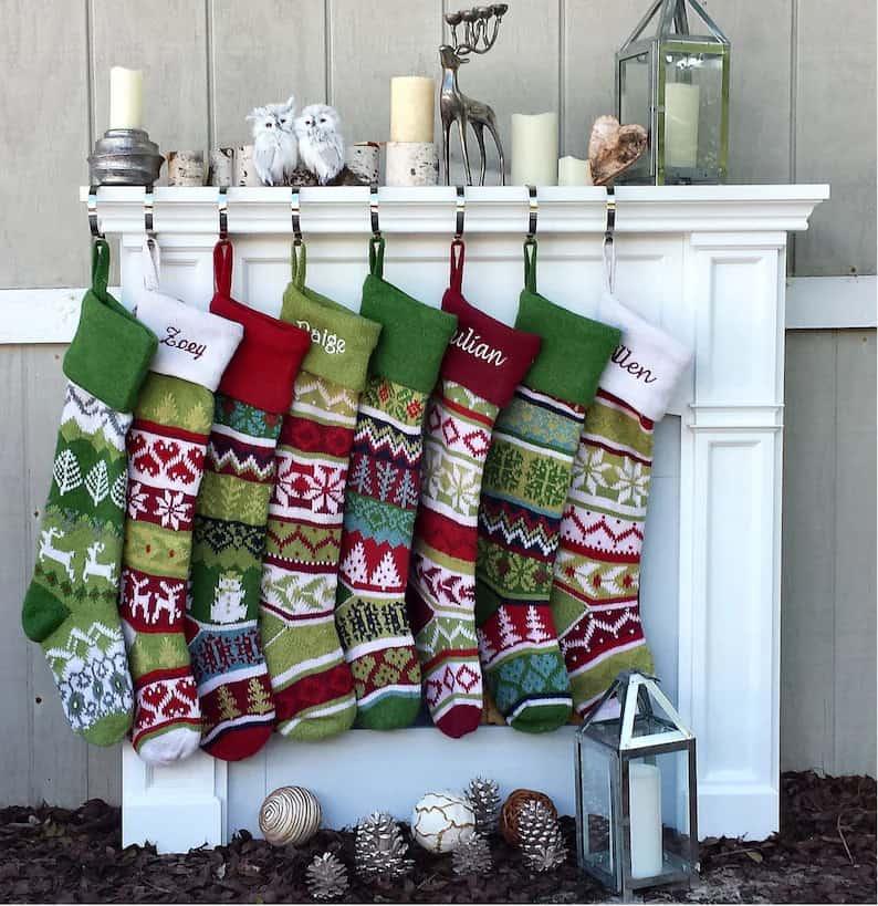 Green-White-Red Xmas Stocking