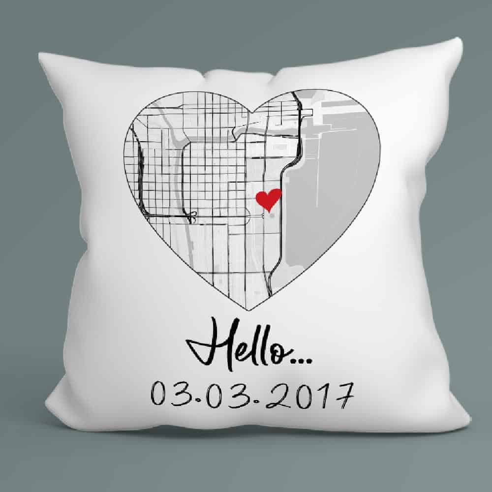 Hello custom map and date pillow - dating anniversary gift for boyfriend 6 months