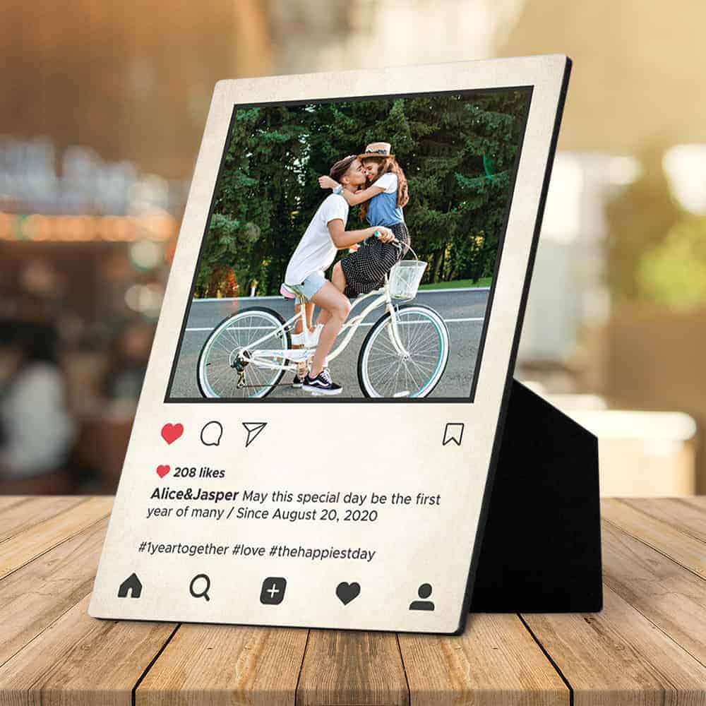 instagram style desktop plaque cool anniversary present for boyfriend