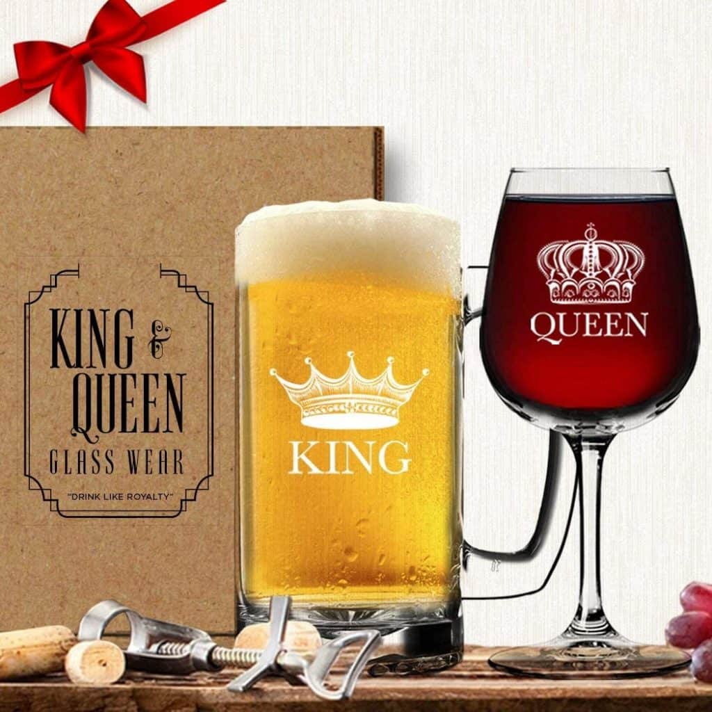 King Beer Queen Wine Glass Drink ware