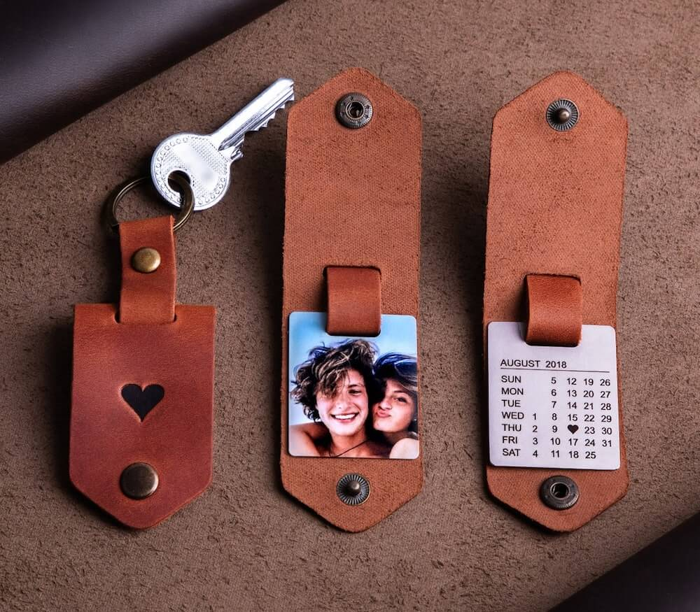 a personalized leather keychain for boyfriend on 6 month anniversary
