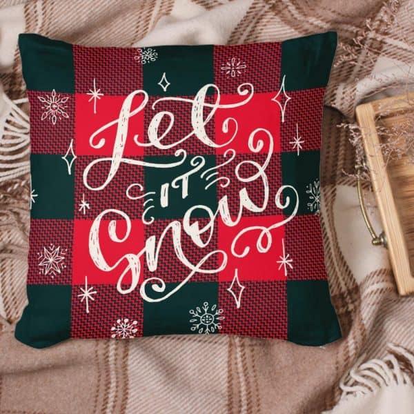 Let It Snow Christmas Suede Pillow