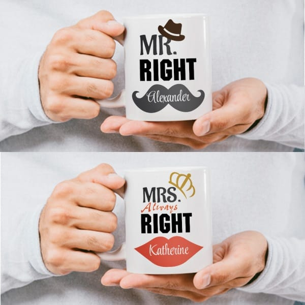 """""""Mr. Right and Mrs. Always Right"""" Custom Couple Mugs, 21 year anniversary gifts"""