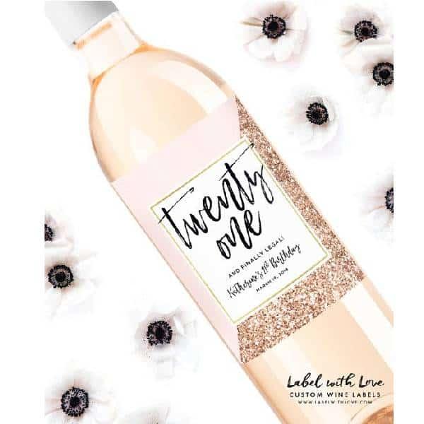 Personalized 21st Birthday Wine Label