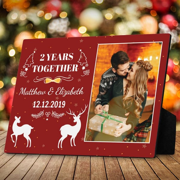 stocking stuffer for her: Personalized Anniversary Year Desktop Plaque
