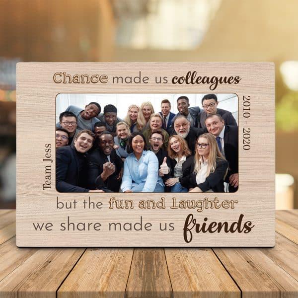Friend photo on desktop plaque