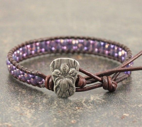 Purple Iris Bracelet Beaded Leather, flower of 21st anniversary milestones