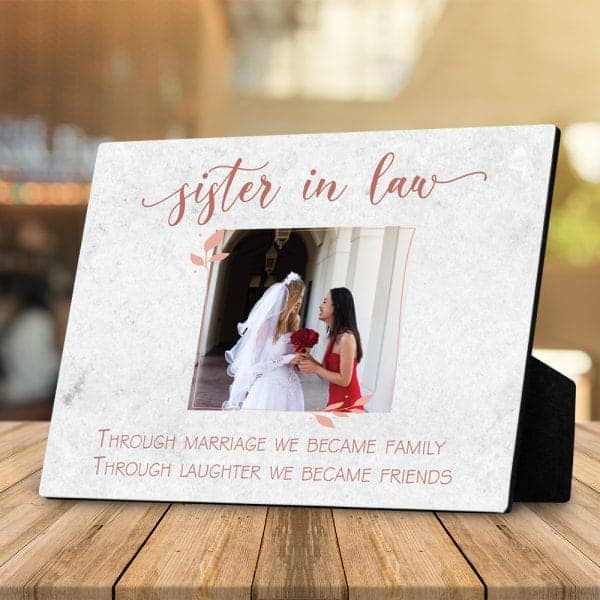 wedding gift for your sister in law: custom photo desktop plaque