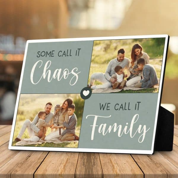 family pictures on photo plaque