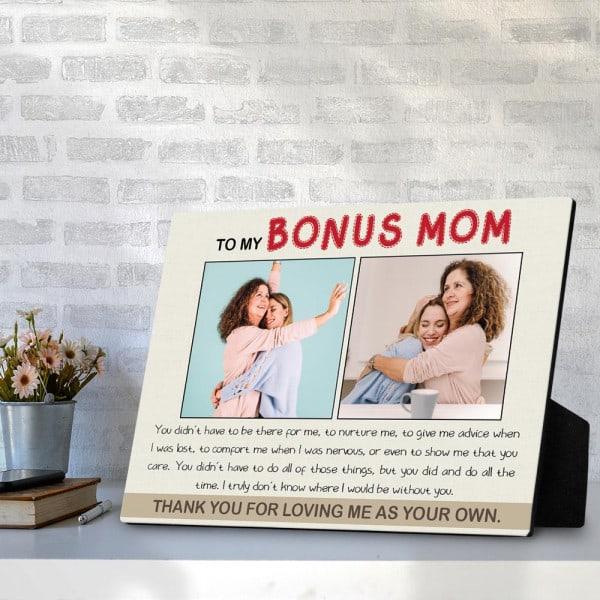 stocking stuffer for stepmom: To My Bonus Mom Desktop Plaque
