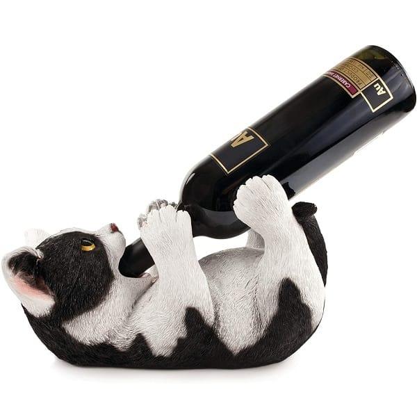 awesome secret santa gifts Kitty Cat Countertop Wine Bottle Holder