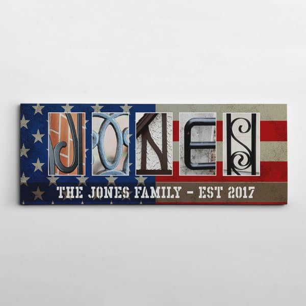military-related gifts: Family Name Signs Letter Art