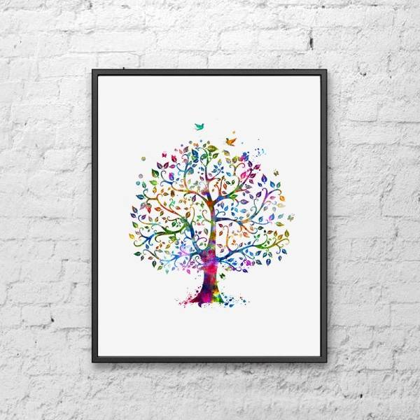 Watercolor family tree Last Minute Christmas Gifts