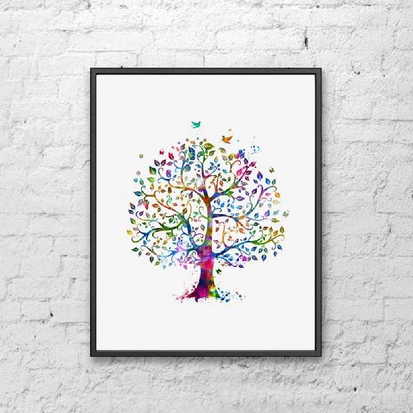 Watercolor family tree Inexpensive Gifts For Coworkers