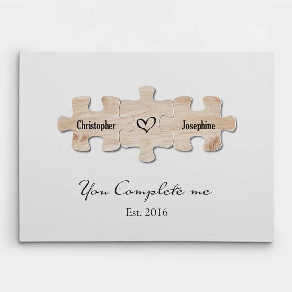 gifting ideas for fiance: You Complete Me Puzzle Canvas Print