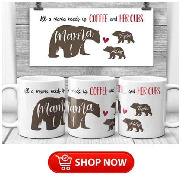 gift ideas for single moms: Mama Bear Custom Name Mug