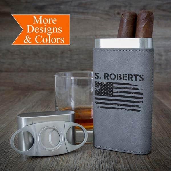 veteran day gift ideas: American Flag Cigar case