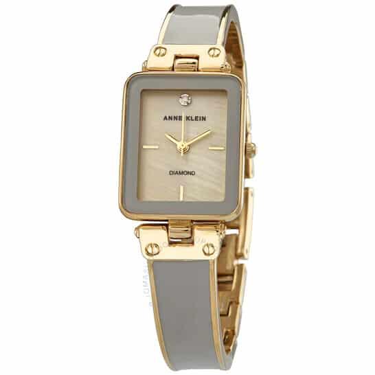 Quartz Diamond Tan Mother of Pearl Dial Ladies Watch