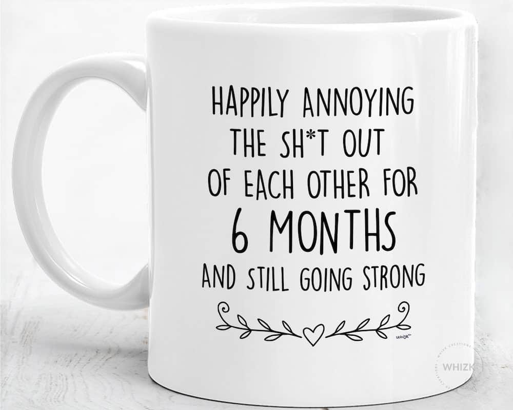 funny anniversary gift for boyfriend with the words: happily annoying each other for 6 months