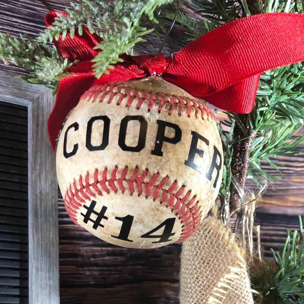 baseball ornament with custom name and number - christmas gift for brothers