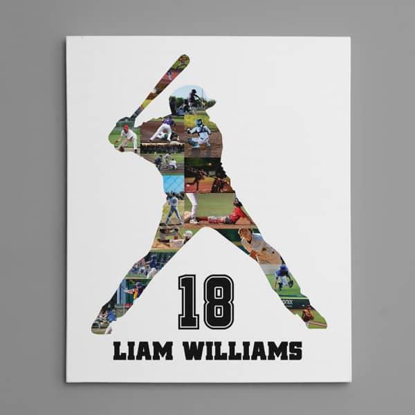 Baseball Photo Collage Canvas Print 21st Birthday Gift Ideas