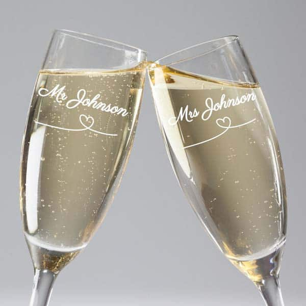 Mr. & Mrs. Champagne Flutes for your fiance