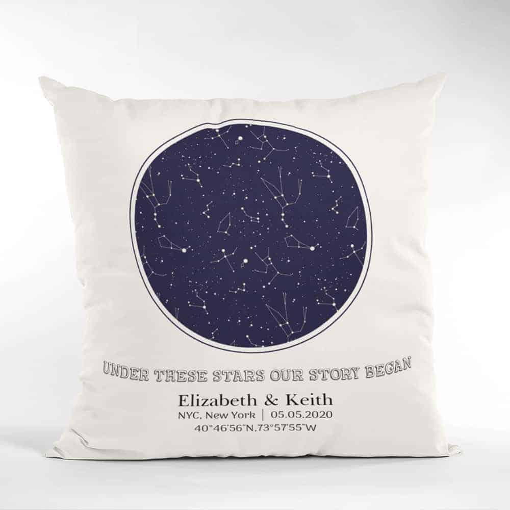 constellation map pillow 6 month dating gift for him