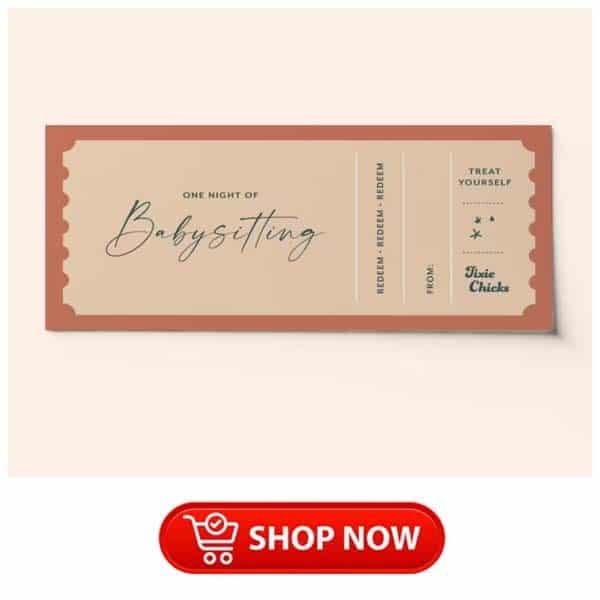 hardworking single mom gifts: Custom Babysitting Ticket Voucher