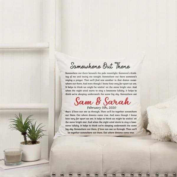 custom name song lyrics on pillow: gifts for your bonus sister on her wedding day