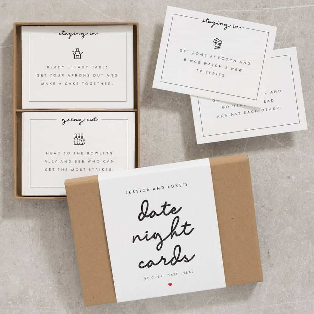 date night cards gift with custom couple's names on the box