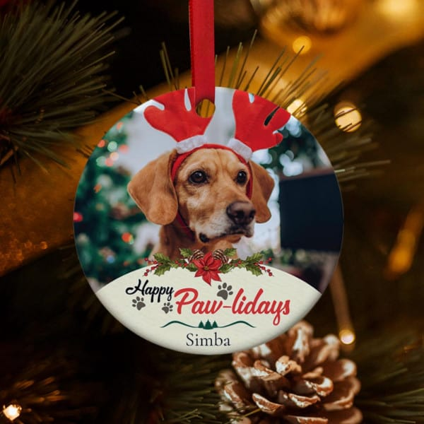 Dog photo on ornament