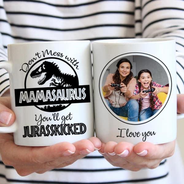 Don't Mess With Mamasaurus Custom Photo Mug