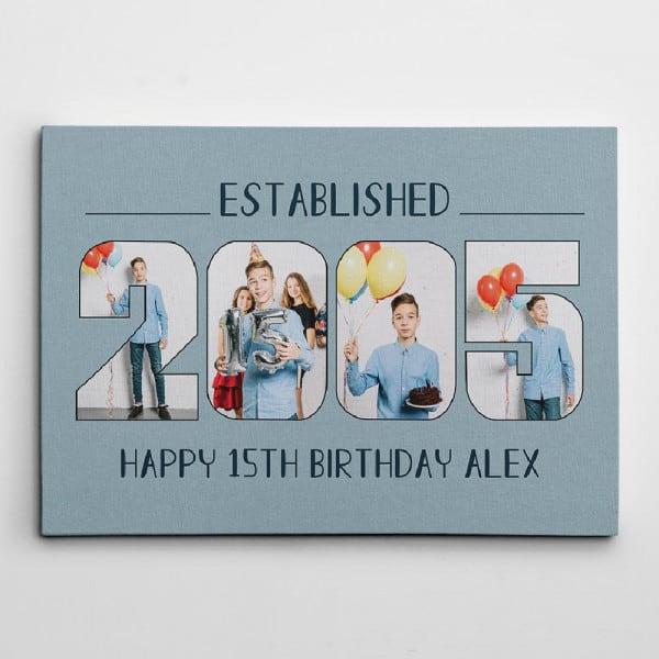 Custom Established Birth Year – Birthday Photo Canvas Print 21st Birthday Gift Ideas
