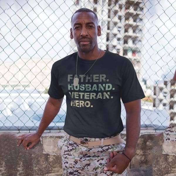 military gifts for veterans: Father Husband Veteran T-shirt