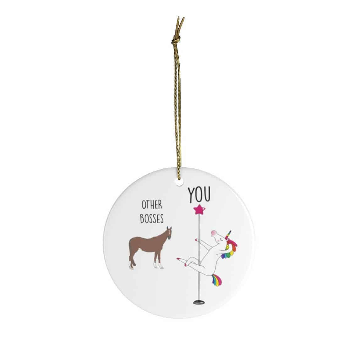 a unicorn pole dancing ornament - funny gifts for female boss