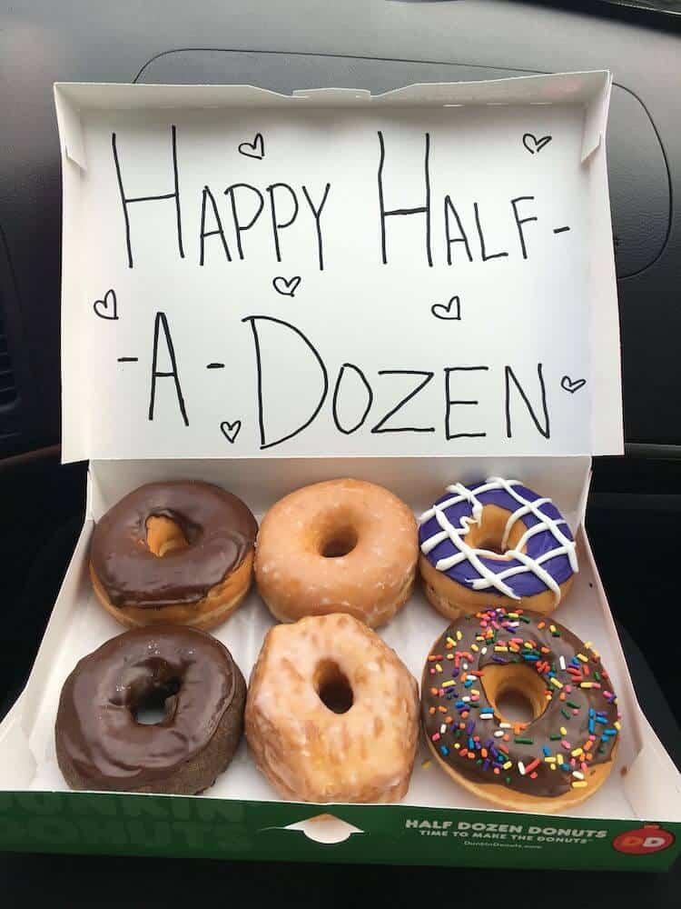 happy half a dozen donut box - fun DIY 6 month anniversary gift for him