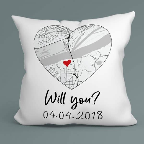 gifts for your fiance on anniversary: Will You Map Pillow