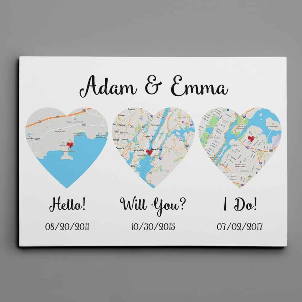 His and hers gifts - Hello – Will You – I Do map canvas print