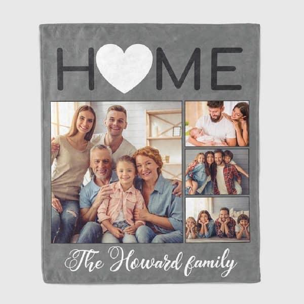 family photos on custom blanket
