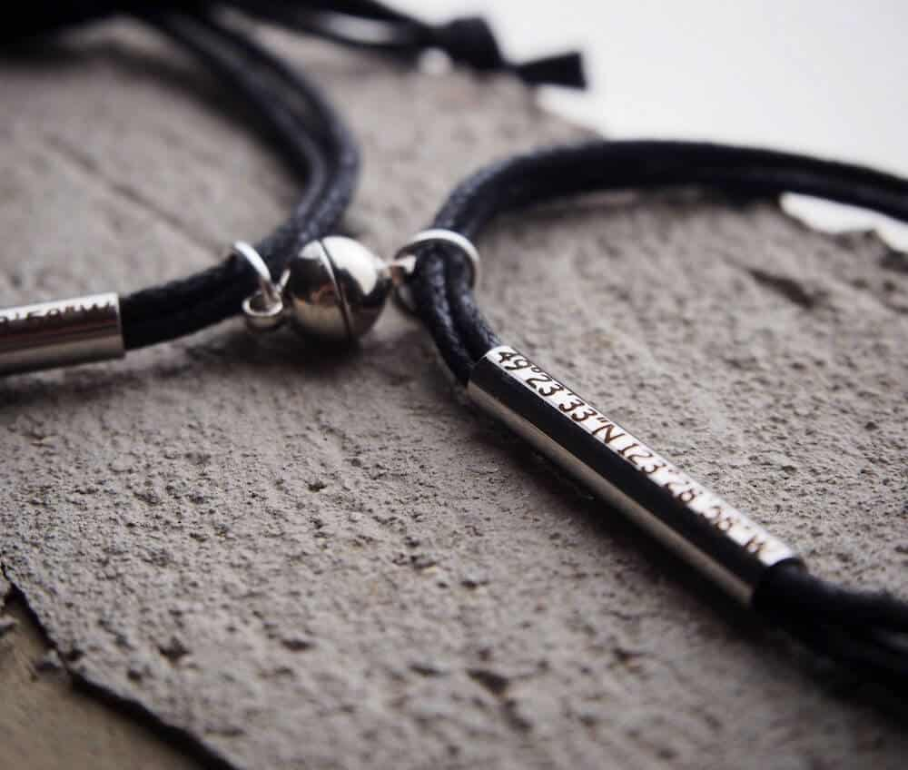 magnetic bracelets with coordinate for boyfriend 6-month anniversary gifts