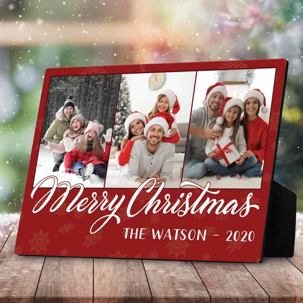 Merry Christmas Family Desktop Plaque