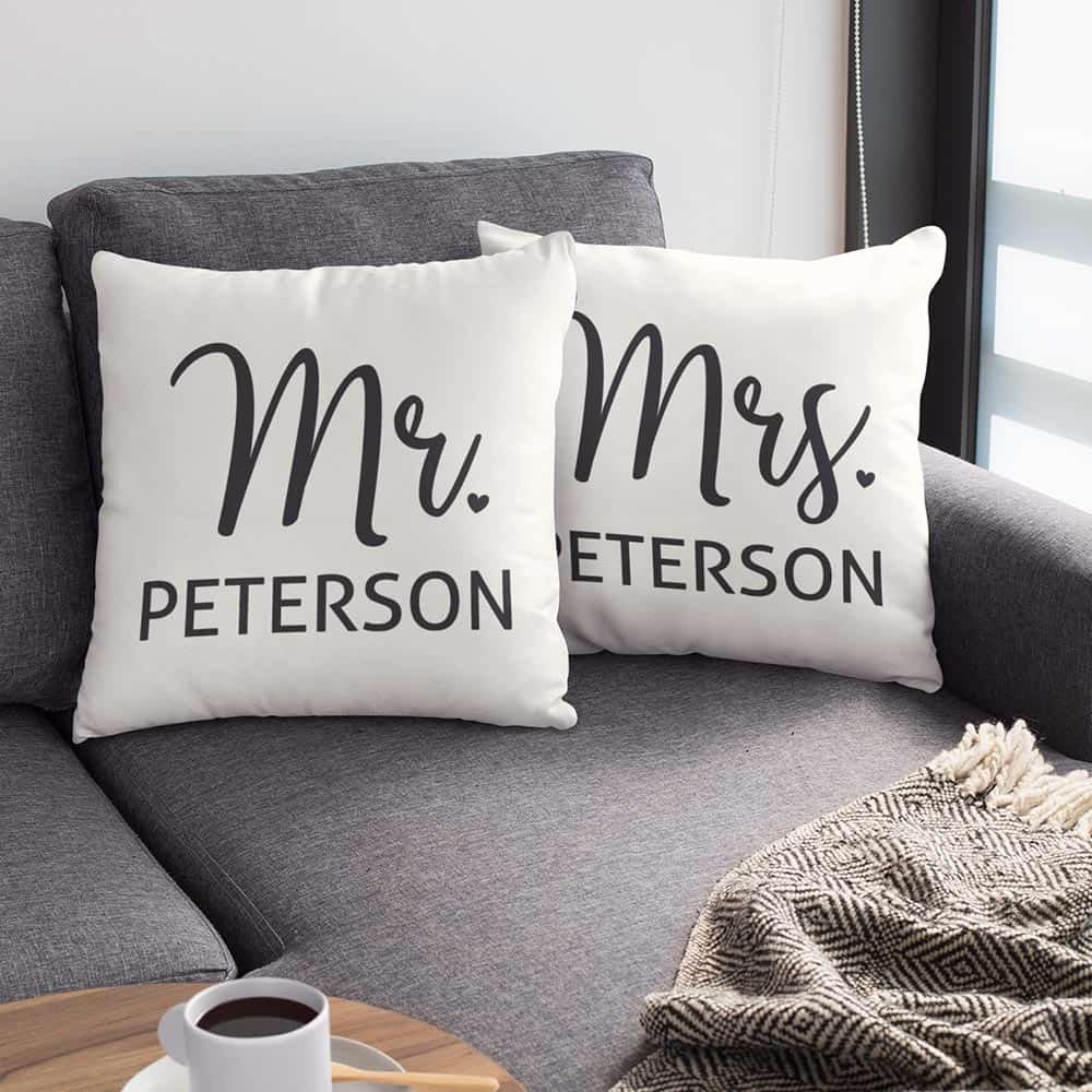 His and hers gifts - Mr. and Mrs. Custom Name Suede Pillow
