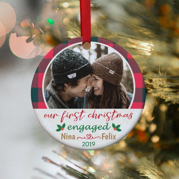 fiance gift ideas for christmas: Our First Christmas Engaged Ornament
