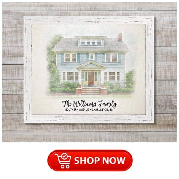 gifts for parents christmas: personalized house portrait