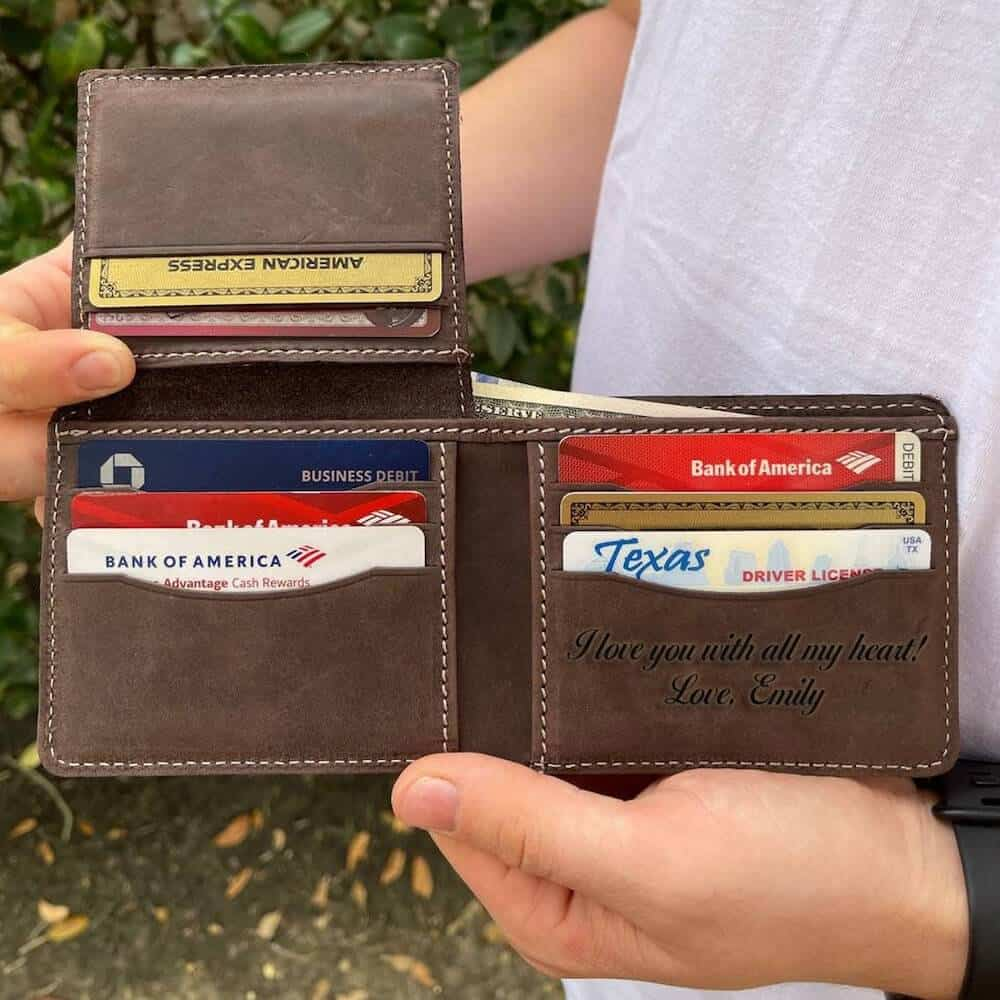 personalized leather wallet for boyfriend 6 month anniversary